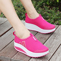 2016 Summer Autumn Air Mesh Women's Shoes Swing Work Single Shoes Breathable Wedges Platform Shoes Pumps Shoes Casual Loafers