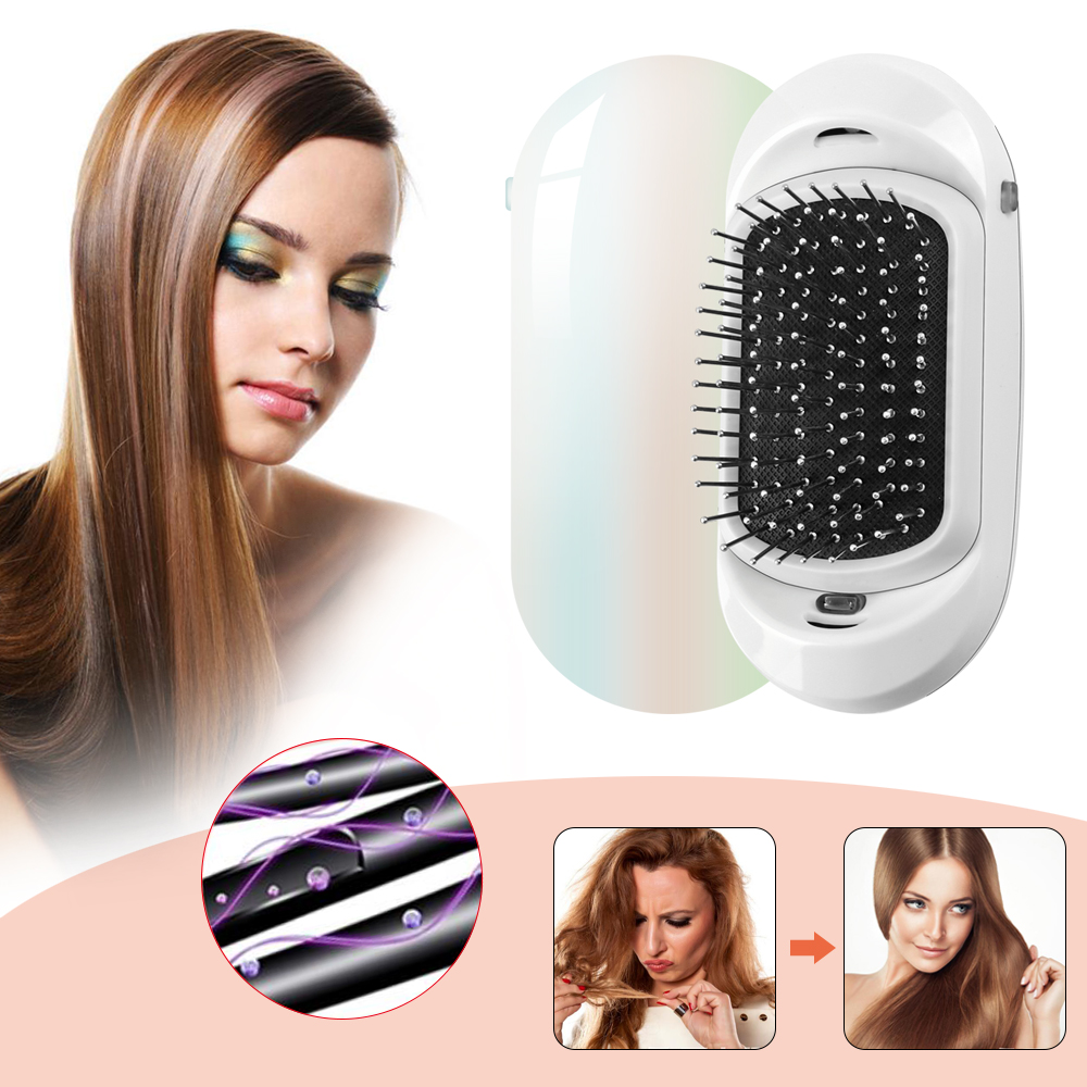 2.0 Ionic Hair Brush Portable Electric Vibrating Scalp Massage Comb Anti-Static Ion Hair Brush With Double Negative Ions Outlet