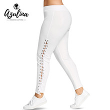 AZULINA Plus Size Lace Up Grommet Leggings Women Pencil Pants Casual Skinny White Black Elastic Pants Trousers Ladies Clothes