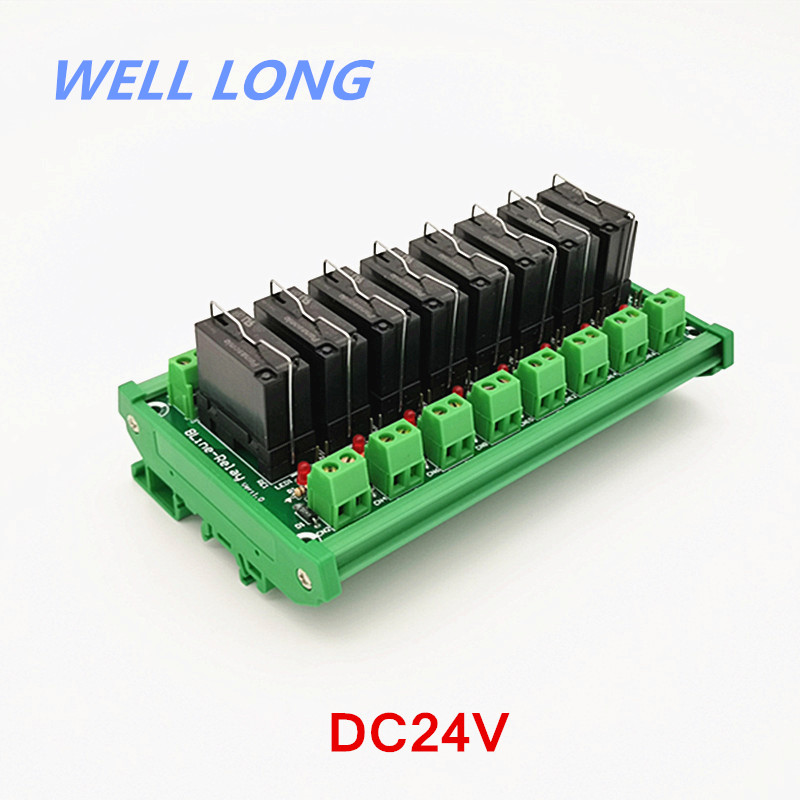 Module d'interface de relais de puissance du bâti 8 DPDT 5A de Rail DIN, relais JW2SN-DC24V.