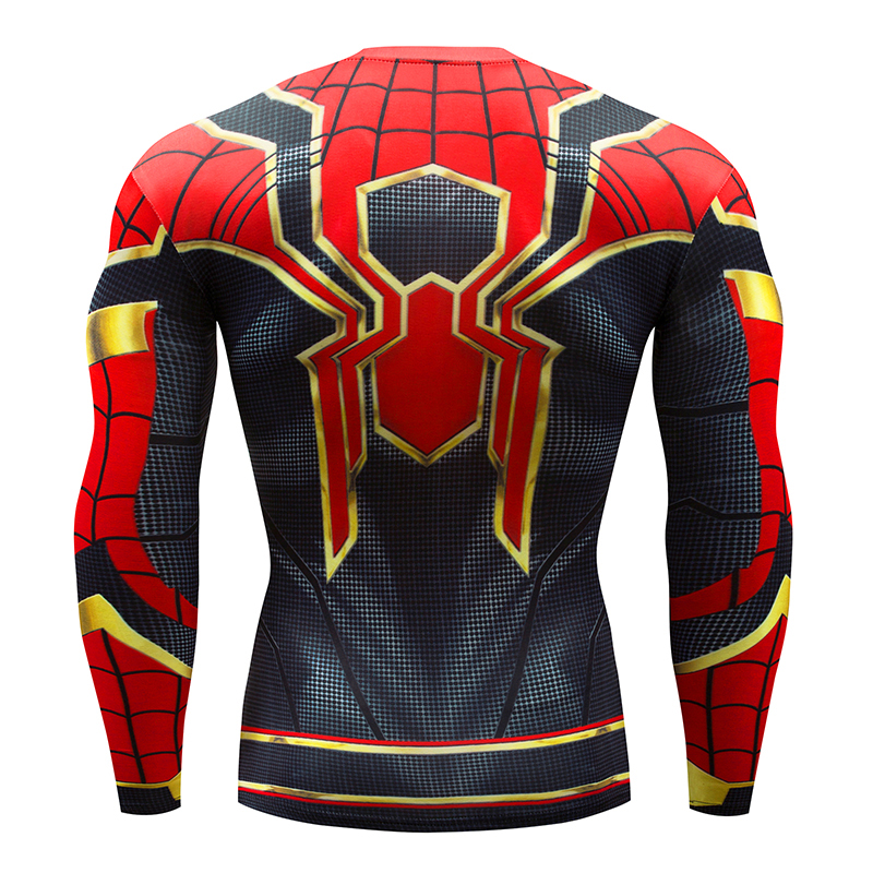 Hot Sale Fitness Compression   Shirt   2018 NEW Men Anime Bodybuilding Long Sleeve Crossfit 3D Spiderman Black Panther   T     Shirt   Tops