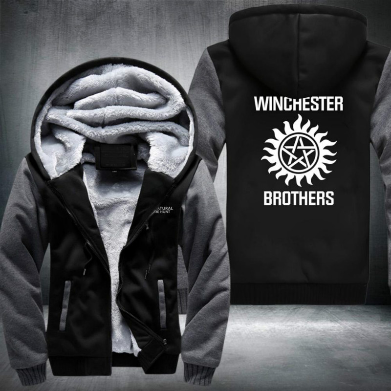 Hot TV Supernatural SPN Winchester Brothers Cosplay Costume Warm Thickened Zipper Hoodie Sweatershirt Coat Jacket