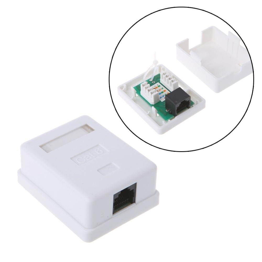 Cat6 RJ45 8P8C Wall Coupler Jack Adapter UTP Unshielded Single Port Desktop Mount Box White