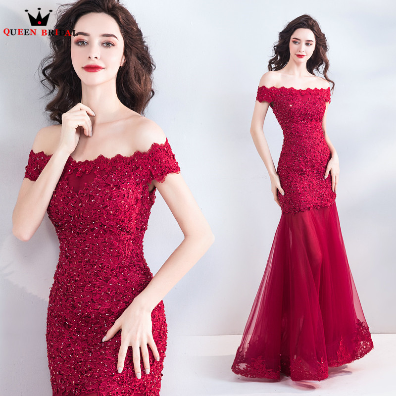 Mermaid Cap Sleeve Lace Tulle Wine Red Sexy Long Formal Evening Dresses 2018 New Arrival Evening