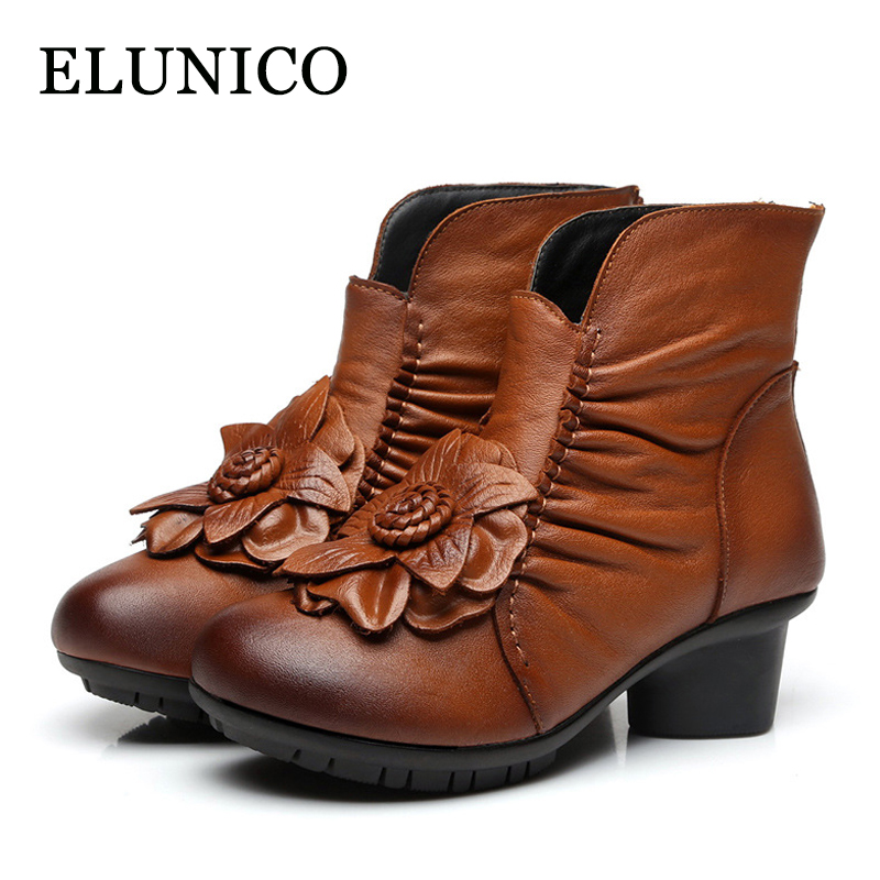 ELUNICO Handmade Short Boots Retro Art Real Genuine Leather Women Shoes National Wind Mother Vintage Floral