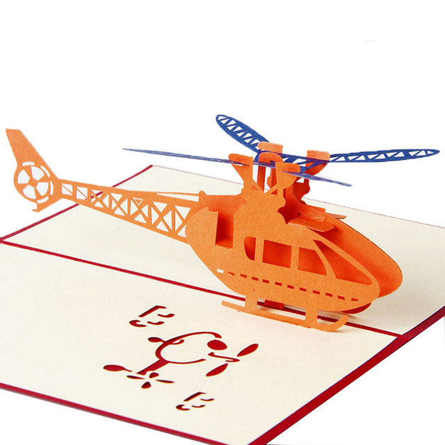 Free Delivery 3D Pop Up Greeting Cards Helicopter Happy Birthday Christmas Anniversary Easter New Drop Ship