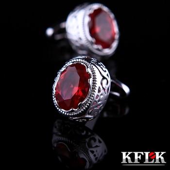 KFLK joyería camisa gemelos para hombre regalo marca brazalete botón rojo cristal brazalete enlace alta calidad boda abotoaduras joyas