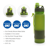 ECO Squeeze Drink Sports Collapsible Silicone Water Bottle NON SPILL