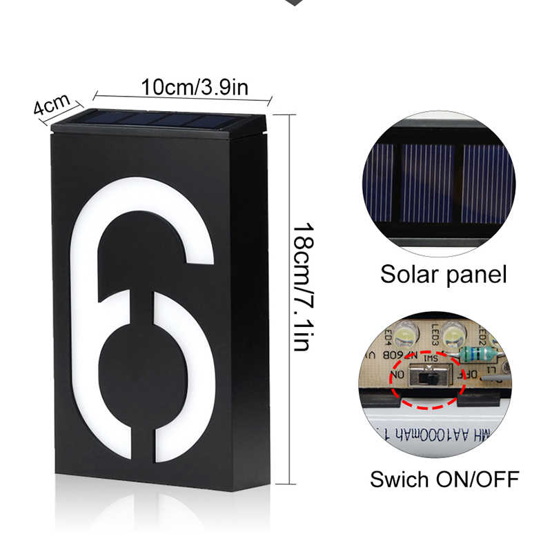 Солнечный адрес номерной знак лампа на солнечных батареях дом номер Doorplate лампы 6 светодио дный фонари отель дверь цифровой Солнечный свет