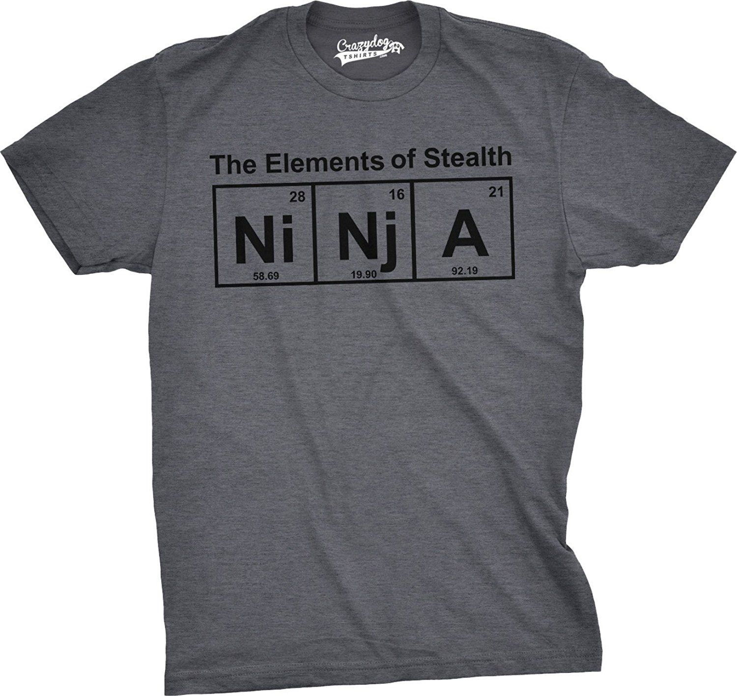 Sleeves Boy Cotton T Shir Mens Ninja Elementer T Shirt Funny Science Warrior Novelty Mens Graphic Nerdy Tees