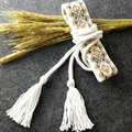 White Cotton Embroider Geometric Belt National Style Lace Up Free Size Belt Vintage Women Accessories For Skirt Dress