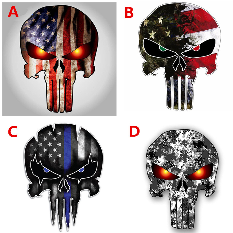 Car Stickers Skulls Punisher USA Army Funny Creative Decals Motorbike Laptop Tablet Auto Tuning Styling Reflective 15x11cm D10 image