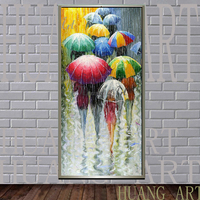 Still rain umbrella landscape hand painted oil painting cafe lounge entrance hall corridor landscape painting decorative charact