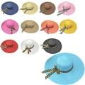 Sol De Moda el Sombrero caliente Mujeres Del Verano Sombreros de Paja Plegables Vaciamiento Casquillos Para Las Mujeres Beach Headwear Bowknot de La Cinta