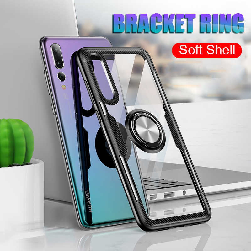 Shockproof Ring Phone Case For Huawei P30 Pro P30 Lite Case Ultra-thin Clear Stand Phone Case For Huawei P20 Pro P20 Lite Case