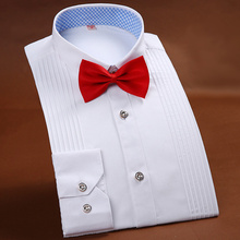 Tuxedo Shirt Long-Sleeved Pink Men's Blue White High-End Brand Solid Wedding-Party 38-44