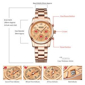 Image 3 - MEGIR Chronograph Women Watches Relogio Feminino Luxury Brand Ladies Sport Wrist Watch Clock Girl Lovers Wristwatches Hour xfcs