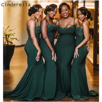 Cinderella Africa Green Spaghetti Straps Lace Mermaid Satin Pleated Women Bridesmaid Dresses Wedding Party Bridesmaid Gowns