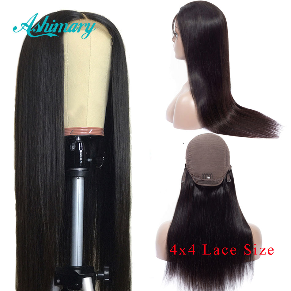 Ashimary Closure Wigs Human-Hair Lace Pre-Plucked Remy Black Women Brazilian 4x4 Straight