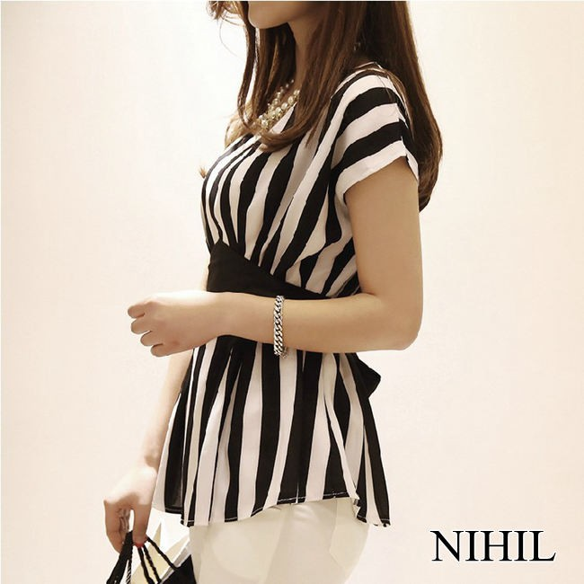 HTB1GvmJFVXXXXb7XXXXq6xXFXXXU - New Spring Striped Print Chiffon Women Blouses Casual Tops Shirt