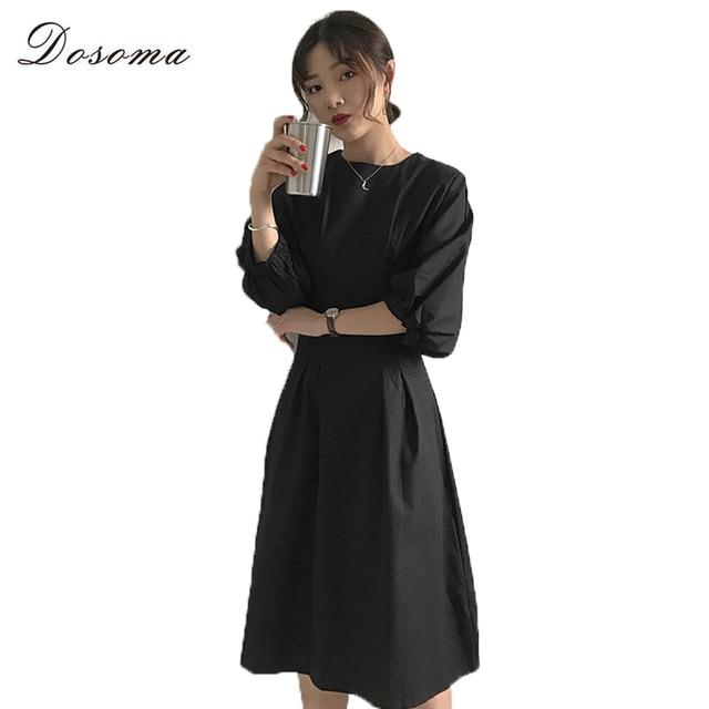 c8973b1089b DOSOMA 2017 Automne Robes Femmes Solides Manches Bouffantes Taille Haute  Slim Robe Rétro Noir Abricot Bureau