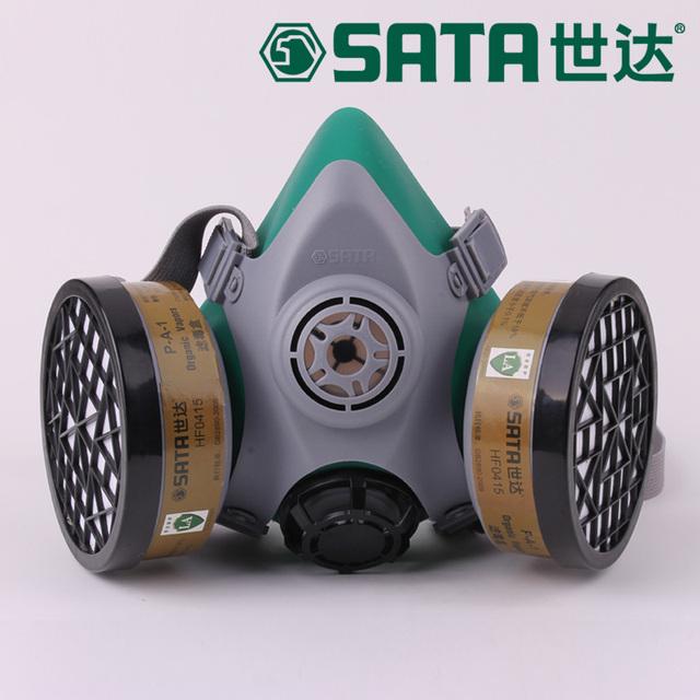 El nuevo 2016 caja de máscara de gas doble filtro de cuatro válvulas gel de sílice de alta calidad de la pintura del respirador máscara de polvo del respirador de LA normas