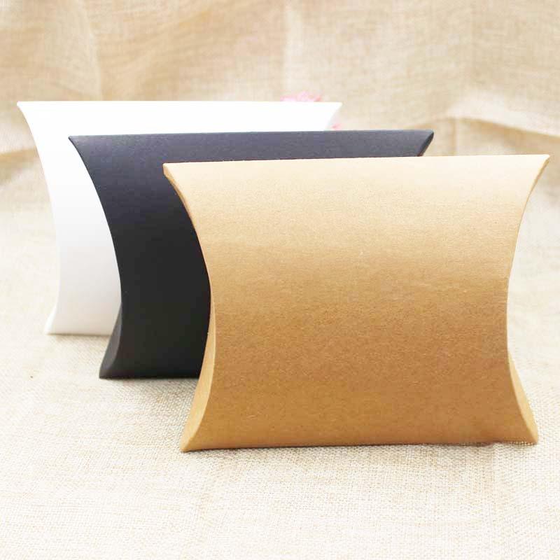 FeiLuanCustom pillow gift box kraft/black/white cardboard paper candy packing box mutli size 20pc per lot custom logo cost extra