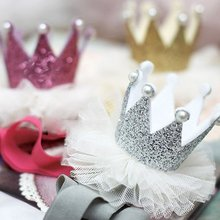 Kids Queen Crown Baby Girls Brithday Shiny Hairband Toddler Elastic Mesh Pearl Headband Hair Princess Accessories