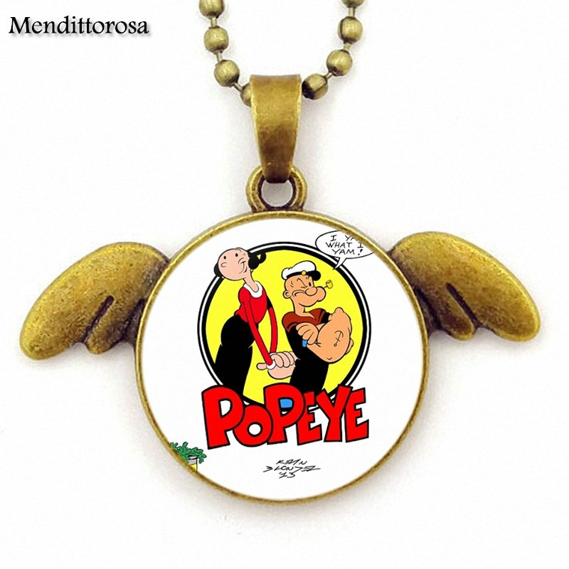 Mendittorosa Jewelry Bronze Color Glass Cabochon Angel Wings Pendant Necklace For Women Handmade Girls Popeye