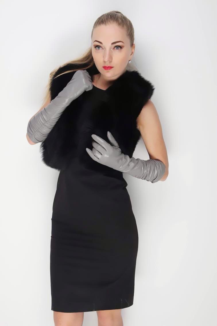 Gants longs en cuir véritable pour femme