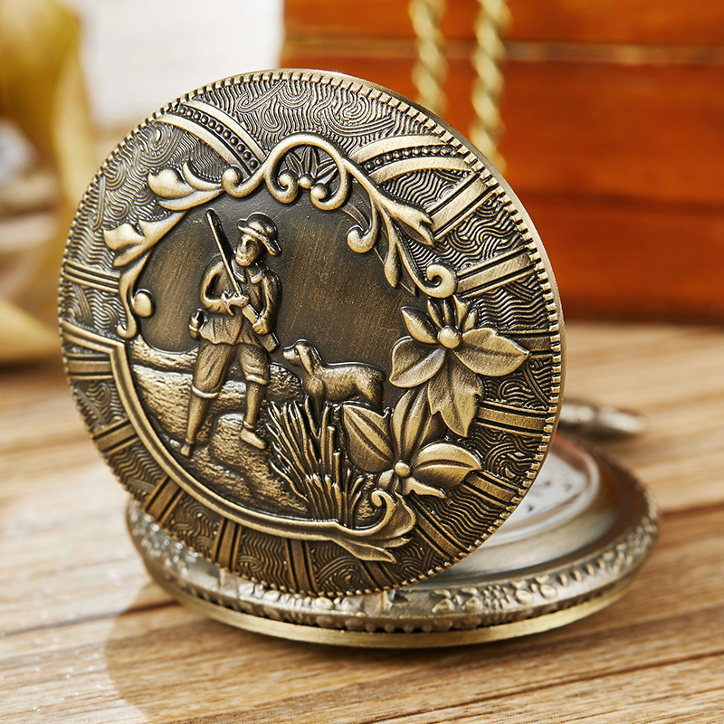 Retro Bronze Hunter With A Dog Hunting Pocket Watch With Necklace Chain Vintage Men Womens Pendant Steampunk Quartz Pocket Watch