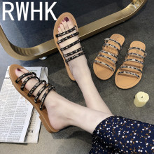 RWHK Slippers female 2019 new summer Korean version of the wild casual rhinestones bears outside wearing slippers B142
