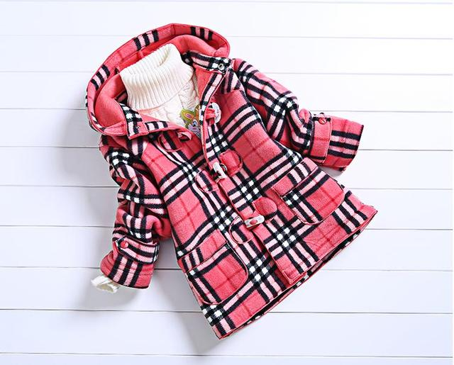 Winter baby girl jacket coat classic thick plaid hooded jacket coat  for 2-6yrs girls kids children velvet outerwear clothes