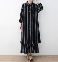 2018 ربيع جديد وصول عارضة الأزياء ol نمط فضفاضة المرأة اللباس رفض طوق قميص طويل الأكمام مخطط اللباس سيدة vestidos