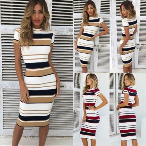 Womens Short Sleeve Bodycon Dress Ladies Summer Striped Dress Size 6-16 Hot Sale Fashion Ladies Round Neck 3