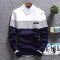 2016 outono camisola homem da cidade menino listrado fino de cultivar a moralidade em torno do pescoço blusas