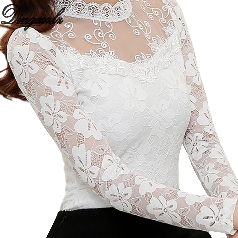 2018 Women Sexy Hollow Out Chiffon Lace Blouse Long Sleeve Stand Collar Floral Lace Shirt Tops Casual Women clothing Blusas