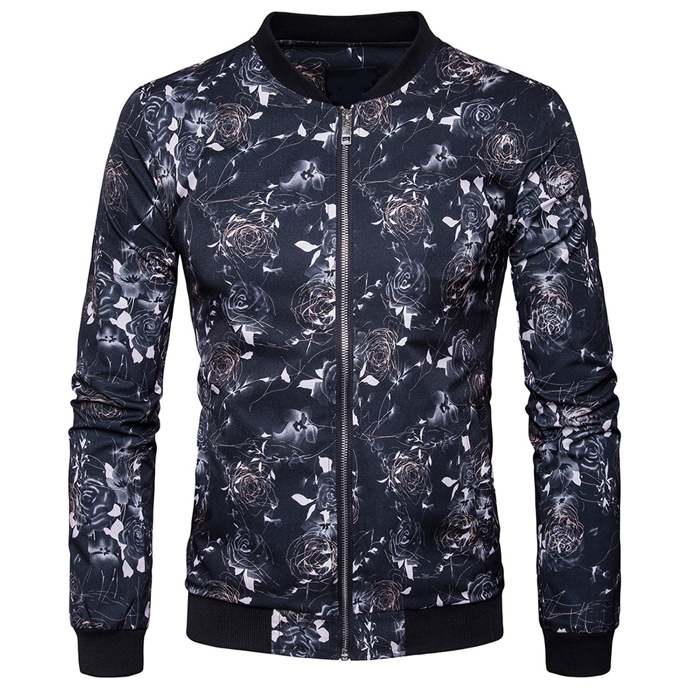 Men Stand Up Collar Jacekts Coats Digital Printed Jackets Casual Slim Long Sleeve Coat 2 ...