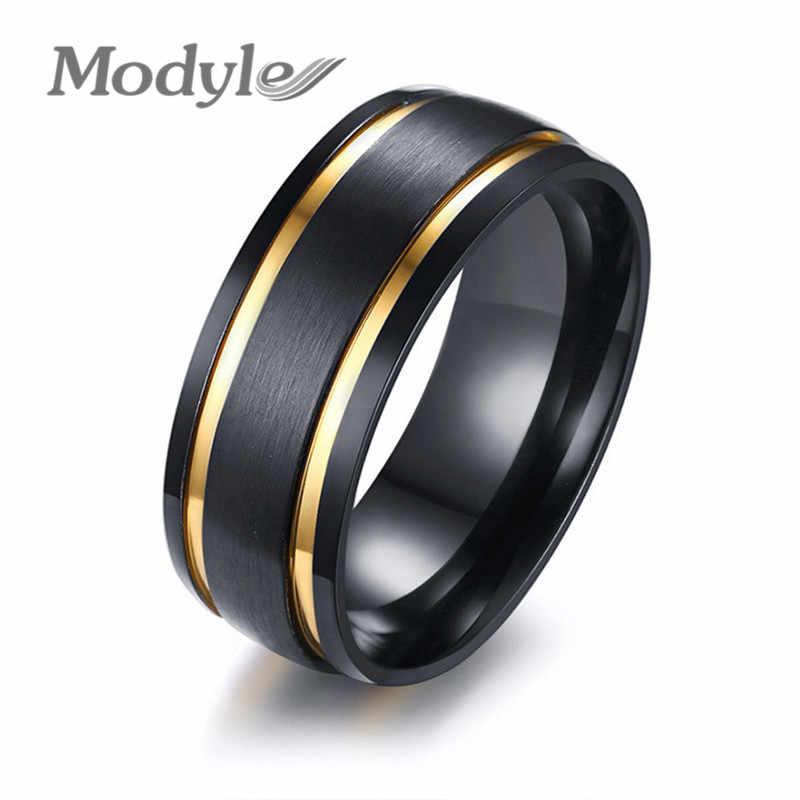 Modyle 2019 แฟชั่นผู้ชายเครื่องประดับ Punk Rock Black และ Gold สี 316L แหวนสแตนเลสสำหรับผู้ชาย