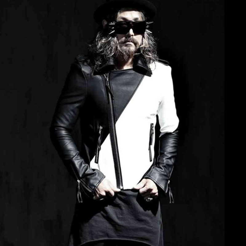 New Arrival Mens Black White Patchwork Pu Leather Jackets Fashion Slim Fit Novelty Faux Leather Motor Jackets  Zipper Fly Casaco