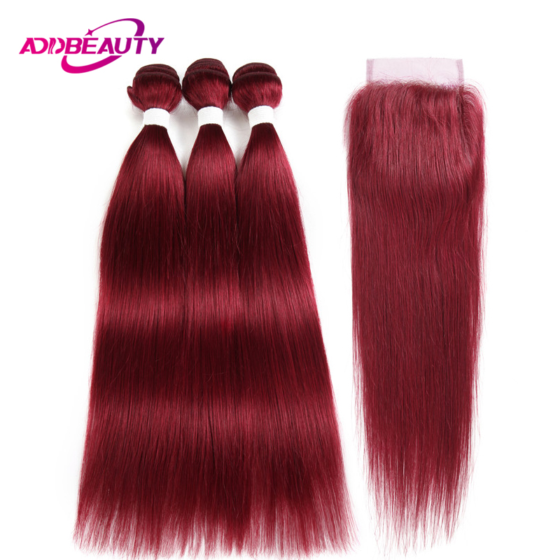 Human Hair Bundle With Closure BURG Color Wine Red Burgundy Pre-colored 4x4 Lace Brazilian Straight Remy Weave Free Middle Part