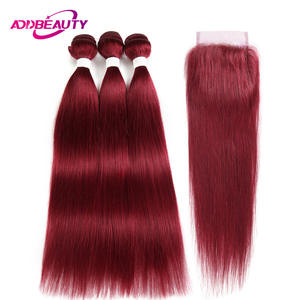 Human-Hair-Bundle Closure Burgundy Burg-Color Straight with Wine Red 4x4/Lace/Brazilian/..
