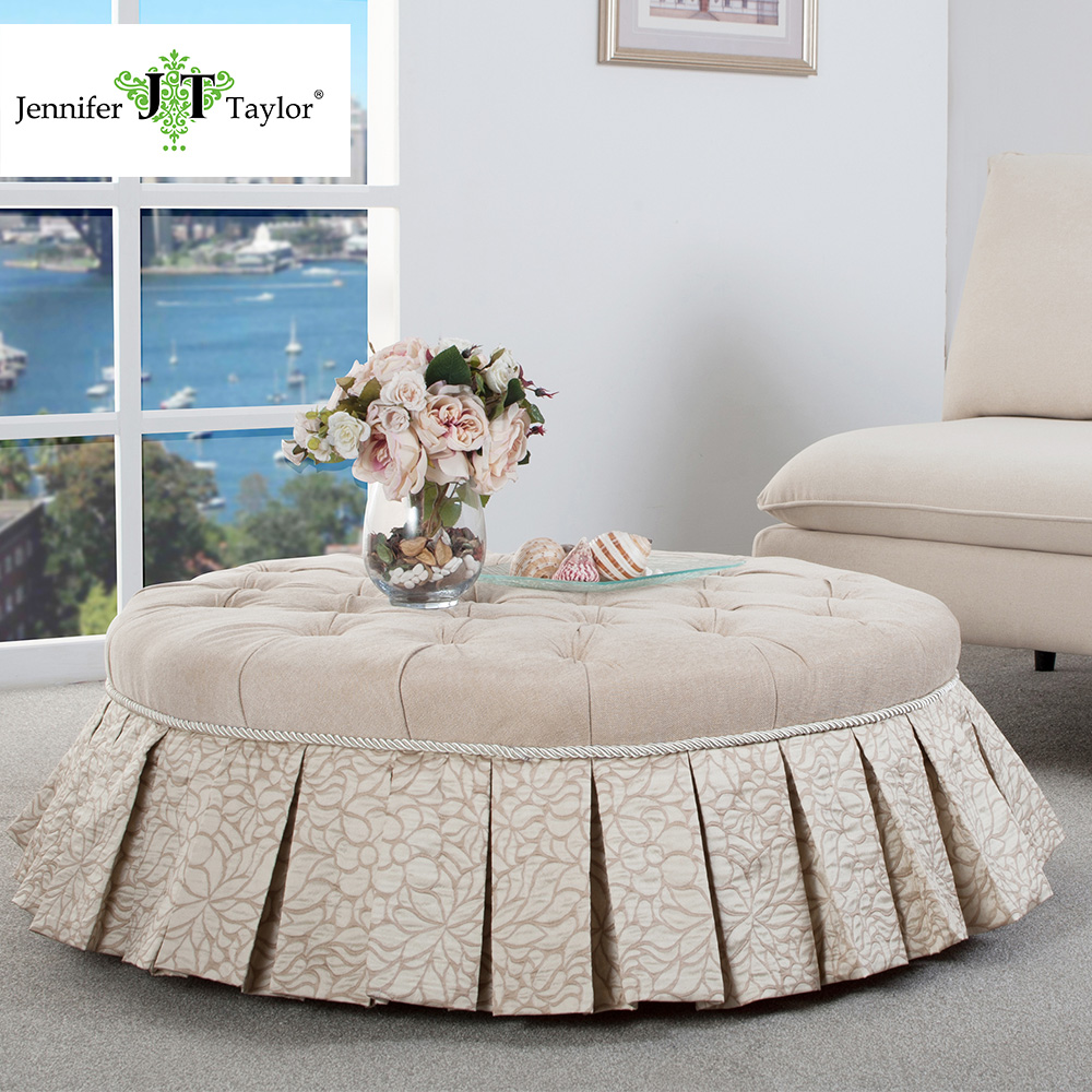 Jennifer Taylor Home, Round Entryway Bench, Beige, Hand Tufted, Hand Painted and Hand Rub Finished Legs 39D x 13H 2407-584568 jennifer bassett shirley homes and the lithuanian case