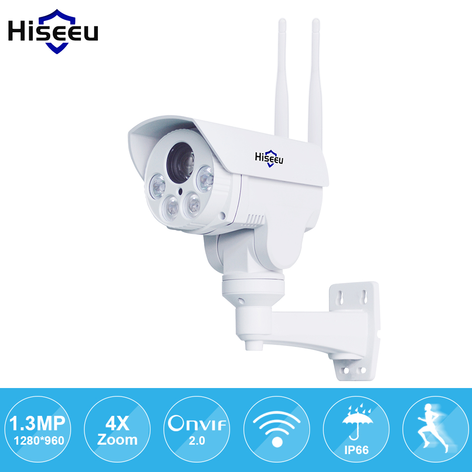 IP Camera wi-fi PTZ Bullet 4X Zoom 960P IP Speed dome Project Night Vision Outdoor Waterproof IP66 IRCUT ONVIF P2P Hiseeu hd 1 3mp ip camera ptz bullet 4x zoom 960p hd project night vision outdoor waterproof ircut onvif p2p onvif poe hiseeu
