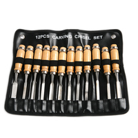 Professional 12pcs Set Carpenter Hand Tools Kit For Carving Chisel Alloy Blade Wood Handle High Hardness