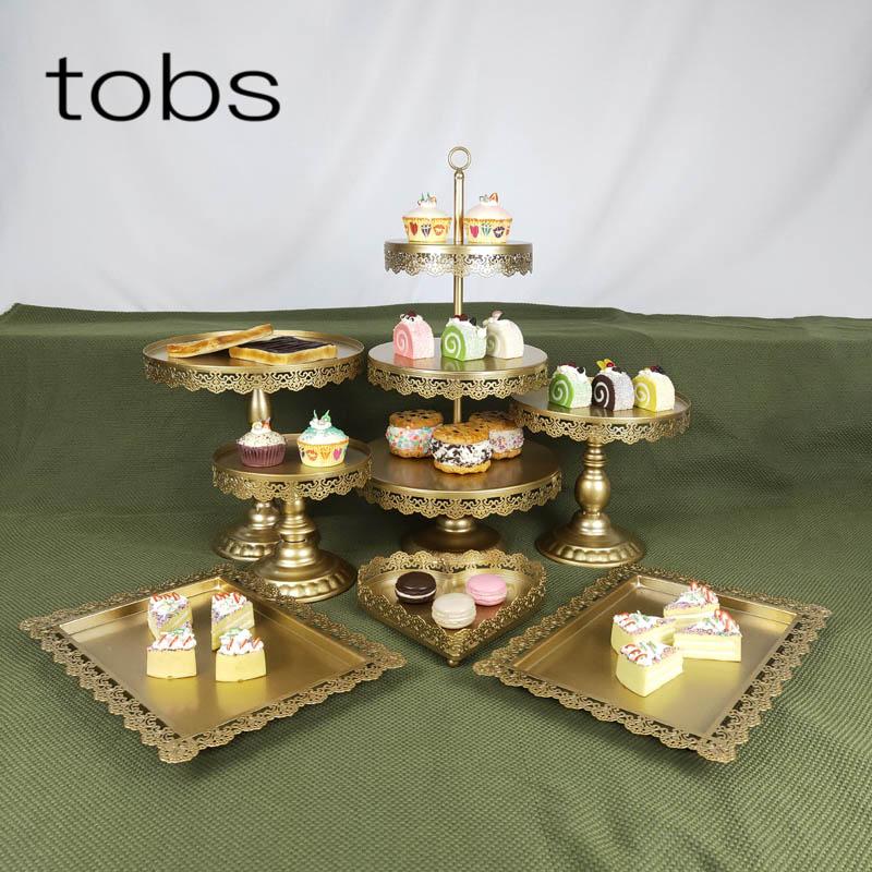 7 pièces 3 niveaux affichage Cupcake fer pneu anniversaire outil plaque Pop mariage plateau gâteau décoration Stand