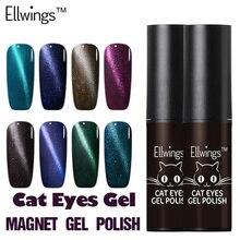 Ellwings 6ml Magnetic Cat Eyes Gel Polish LED UV Soak off Gel Lacquer Chameleon Magnet Gel Nail Varnish Top+Base Coat