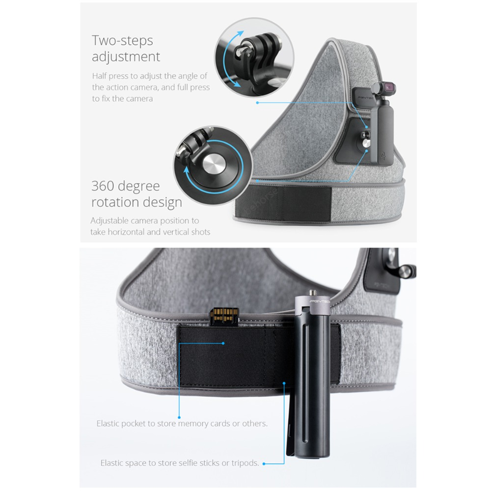 OSMO sangle de poitrine d'action sangle de caméra pour Dji Osmo poche Gopro Hero 7 6 Insta360 Sjcam accessoires de caméra d'action PGYTECH-in Kits d'accessoires pour drones from Electronique    3