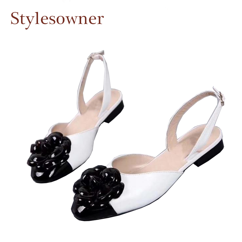 Stylesowner newest camellia flowers embellish women shoes patchwork real leather back strap spring summer flat shoes femainino