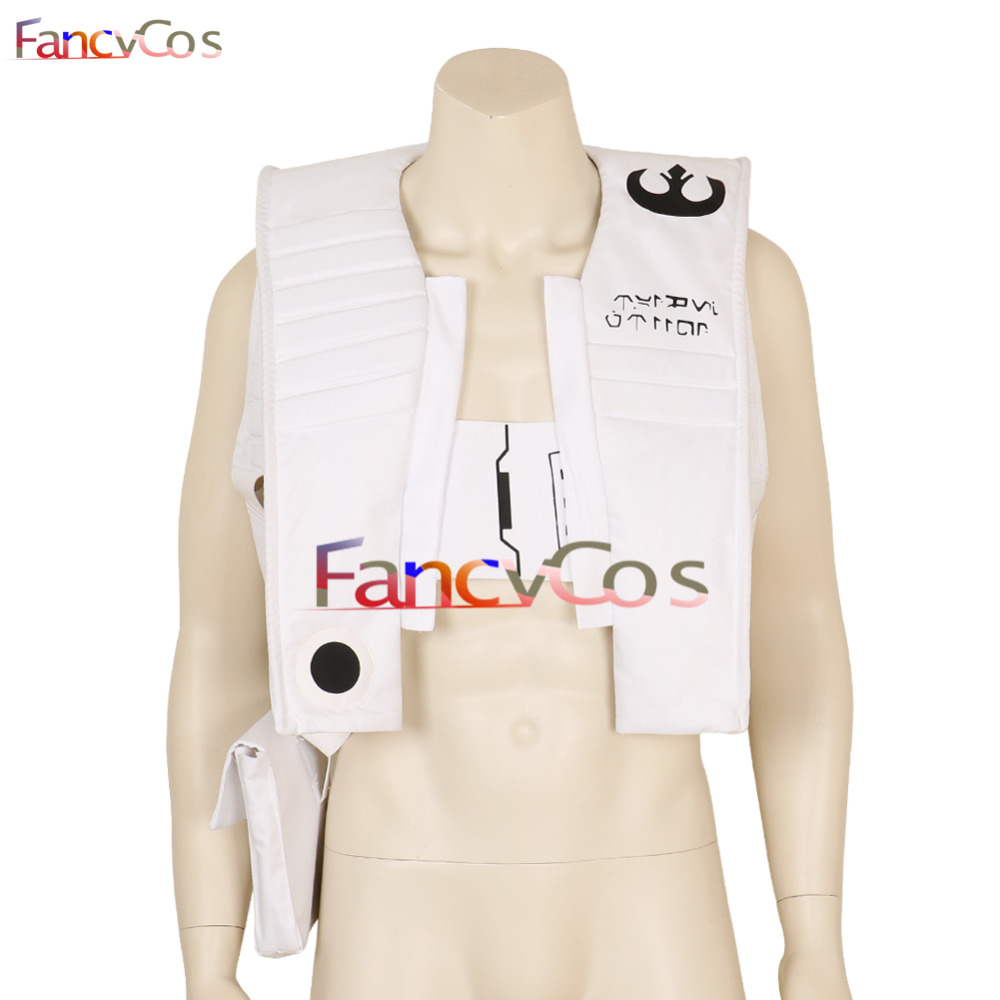 US $56 61 15% OFF|Halloween Star Wars: The Last Jedi Poe Dameron Uniform  White Vest Adult Cosplay Costumes Costume Movie High Quality Custom Made-in